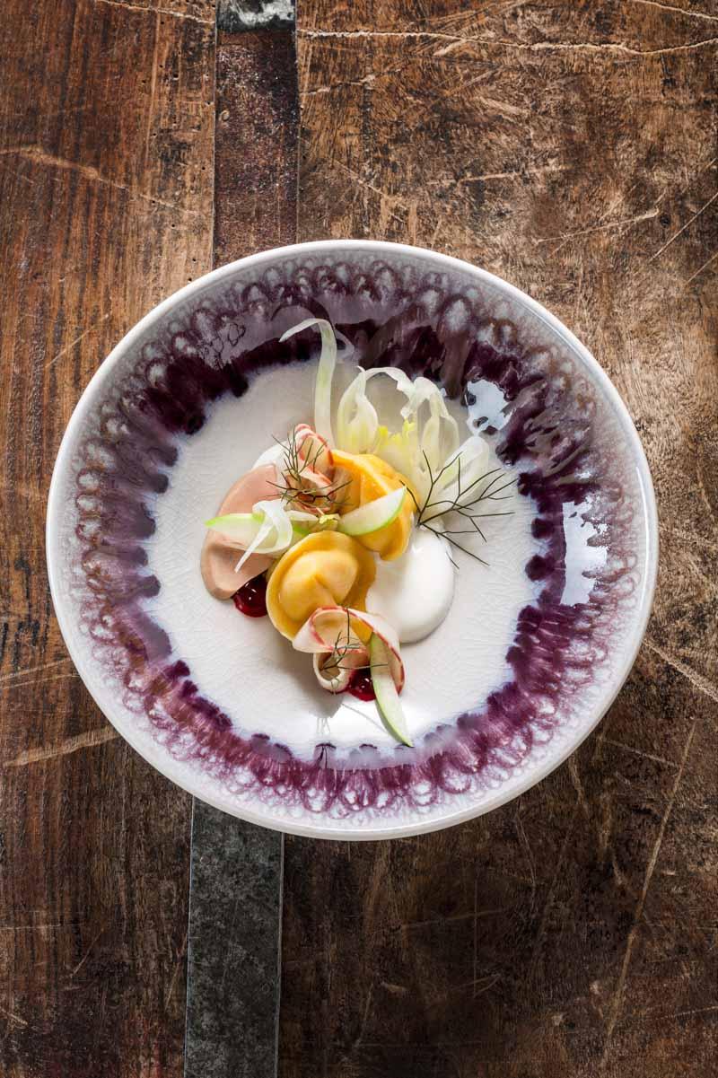Ana Ros, Ravioli mit ger�hertem Aal, G�eleber und fermentiertem Topfen | cookbook 2014, Guest Chef April 2014, Ana Ros, R