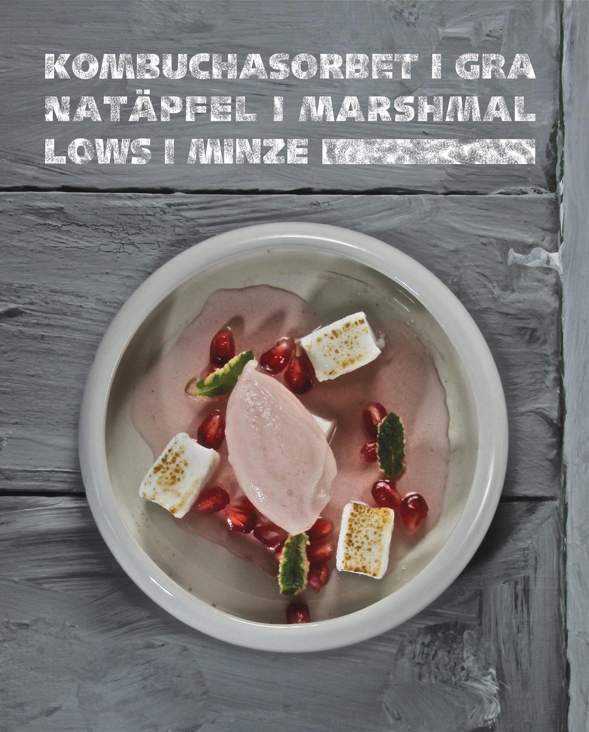 Kombuchasorbet,-Granatäpfel,-Marshmellow,-Minze