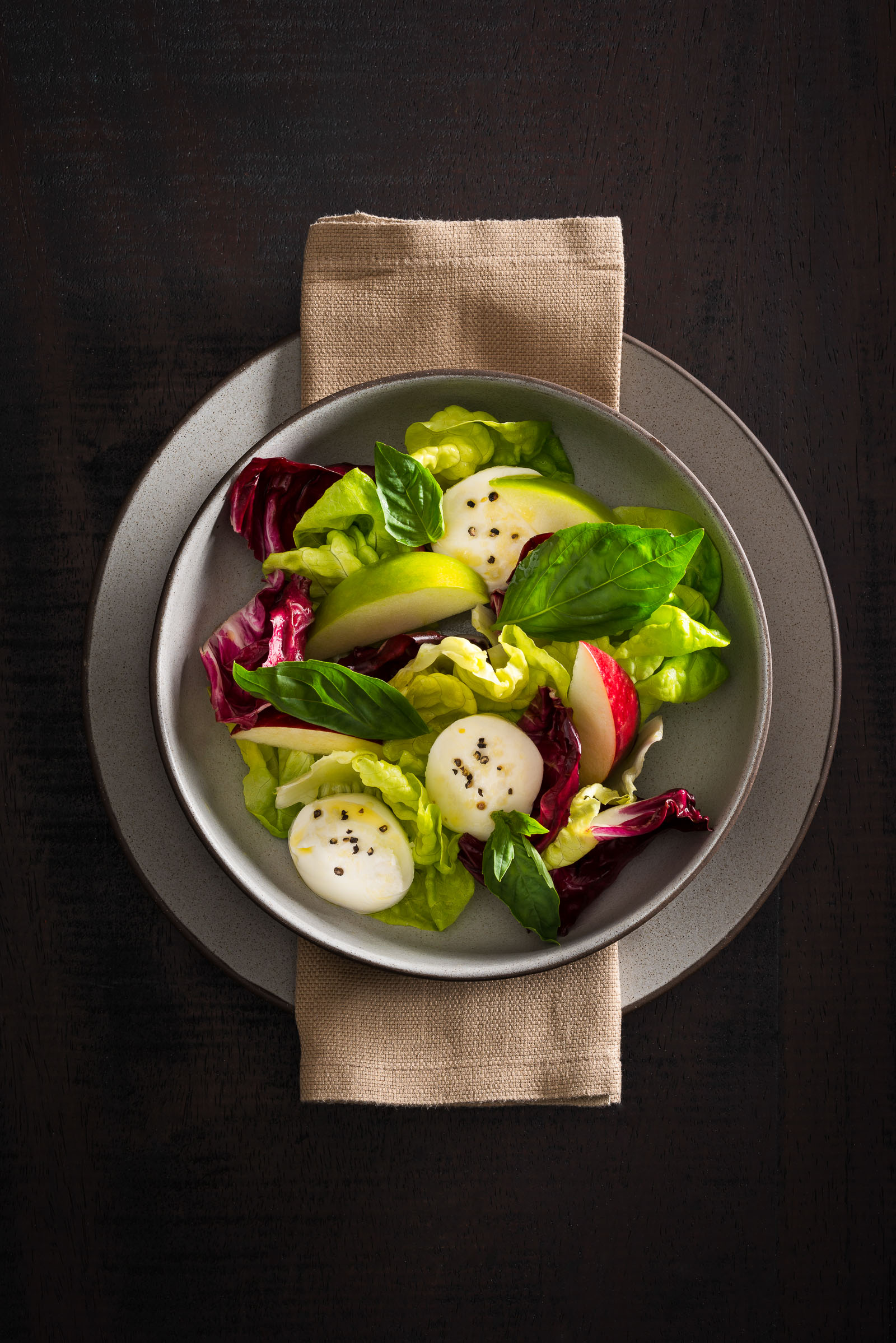 Butter Lettuces and Radicchio with Mozzarella and Basil