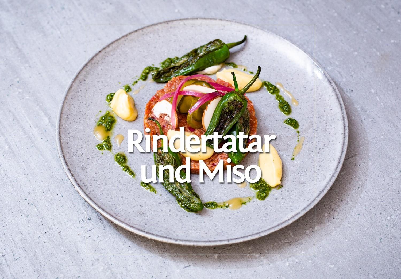 Rindertatar, Pimientos de Padrons & Misomayonnaise · Berliner Speisemeisterei